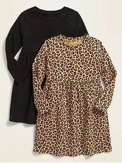 Robe en tricot de jersey à manches longues pour toute-petite fille (paquet de2)