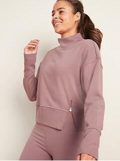 Loose Mock-Neck Side-Zip Sweatshirt for Women
