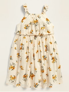 Floral-Print Ruffle-Strap Sundress for Toddler Girls
