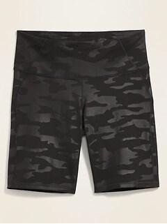 Short de compression à taille haute à motifs, entrejambe de 25cm, Taille forte