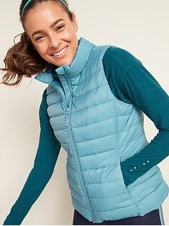 Packable Narrow Channel Puffer Vest For Women