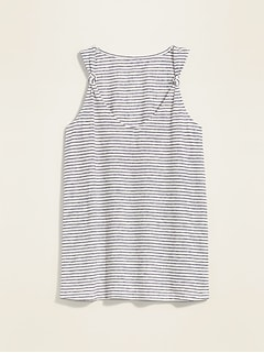 Striped Linen-Blend Knotted-Strap Tank Top for Women