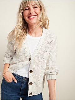 Pointelle-Knit Button-Front Cardigan Sweater for Women