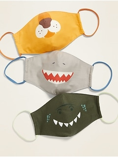 Variety 3-Pack of Triple-Layer Cloth Contoured Critter Face Masks (with Laundry Bag) for Kids