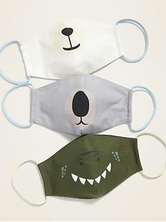 Paquet de 3 masques profilés en tissu à revers triple épaisseur à motifs animaliers (avec un sac à lessive) pour enfant