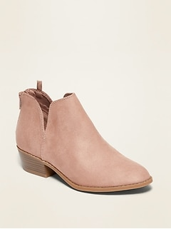 Faux-Suede Cut-Out Booties for Girls