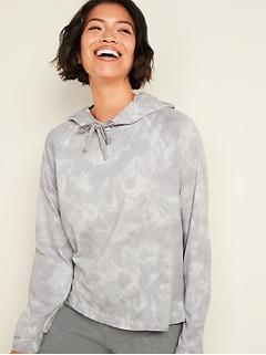 Lightweight Specially Dyed Jersey Pullover Hoodie for Women