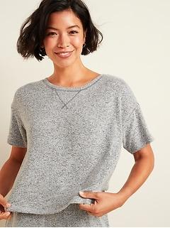 Cropped Plush-Knit Pajama Lounge Top for Women