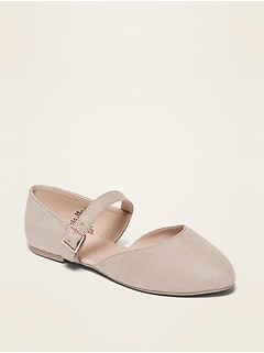 Faux-Suede Buckled-Strap D'Orsay Flats for Girls