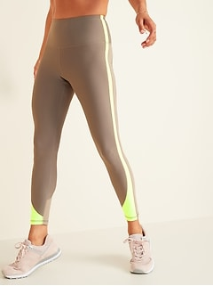 High-Waisted Elevate Powersoft Color-Blocked 7/8-Length Leggings for Women