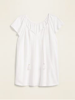 Linen-Blend Tassel Tie Flutter-Sleeve Top for Women