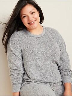 Haut de pyjama douillet en tricot moelleux, taille Plus