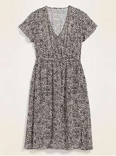 Soft-Woven Wrap-Front Plus-Size Fit & Flare Midi Dress