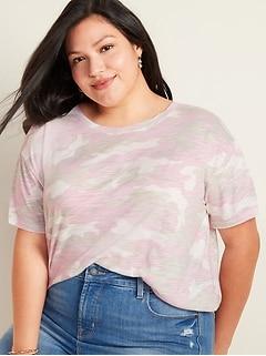 T-shirt trois quarts en tricot grège à imprimé camouflage, taille forte