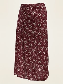 Maternity Floral-Print Midi Slip Skirt
