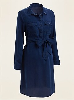 Maternity Chambray Utility Tie-Belt Shirt Dress