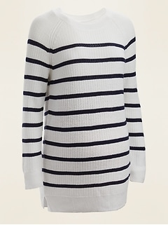 Maternity Textured Boat-Neck Tunic Sweater