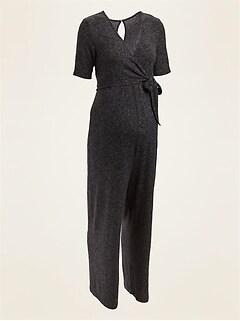 Maternity Plush-Knit Cross-Front Side-Tie Jumpsuit