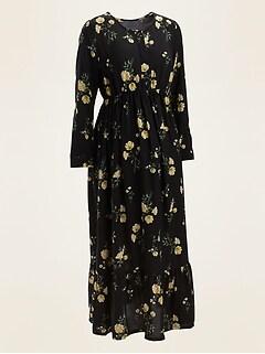 Maternity Floral-Print Tiered-Hem Maxi Swing Dress