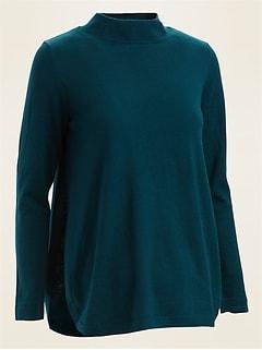 Maternity Funnel-Neck Nursing Sweater