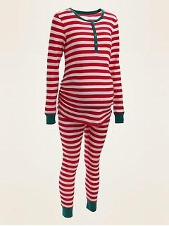 Maternity Striped Waffle-Knit Pajama Set