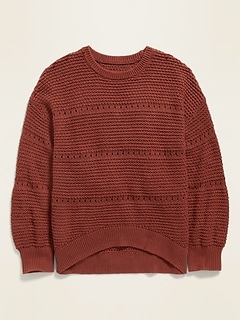 Textured Pointelle Hi-Lo Hem Sweater for Girls