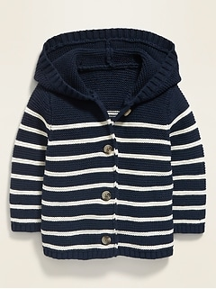 Unisex Hooded Button-Front Cardigan Sweater for Baby