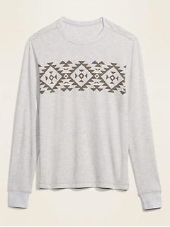 T-shirt à manches longues en tricot gaufré à imprimé en blocs pour homme