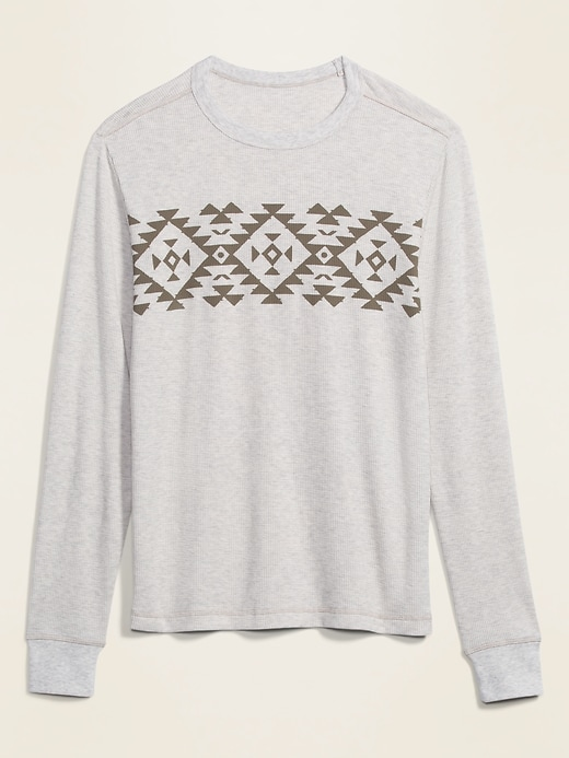 Print-Block Waffle-Knit Long-Sleeve Tee for Men