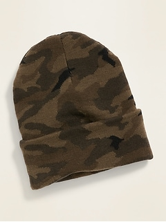 Camo Rolled-Cuff Sweater-Knit Beanie for Men