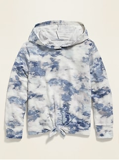 Plush-Knit Tie-Front Pullover Hoodie for Girls