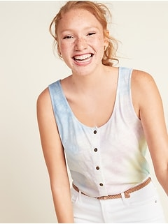 Slub-Knit Button-Front Tank Top for Women