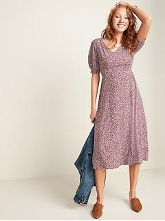 Floral-Print V-Neck Fit & Flare Midi Dress for Women