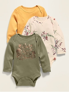 3-Pack Long-Sleeve Jersey Bodysuits for Baby