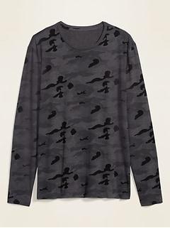 T-shirt à manches longues à imprimé camouflage au fini soyeux pour homme
