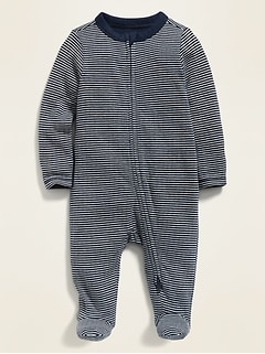 Unisex Striped Double-Layer Footed One-Piece for Baby