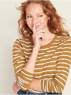 EveryWear Striped Slub-Knit Long-Sleeve Tee for Women