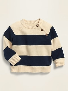 Unisex Rugby-Stripe Raglan Pullover Sweater for Baby