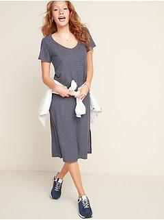 Robe droite rayée mi-longue en jersey en mélange de lin pour femme