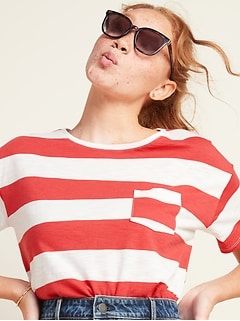 Loose Striped Pocket Easy Tee for Women