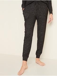 Pyjama de style pantalon d'entraînement en tricot duveteux à taille moyenne pour femme