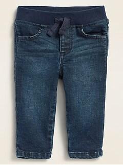 Unisex Rib-Knit-Waist Dark-Wash Skinny Jeans for Baby