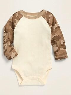 Unisex Color-Blocked Raglan-Sleeve Bodysuit for Baby