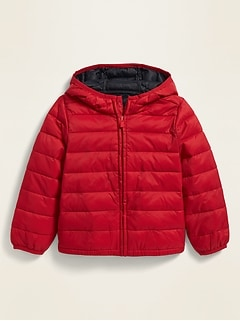 Unisex Hooded Lightweight Narrow-Channel Puffer Jacket for Toddler