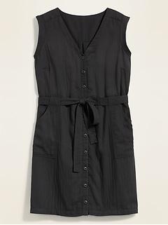 Button-Front No-Peek Tie-Belt Plus-Size Sleeveless Utility Dress