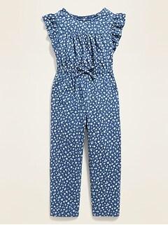 Flutter-Trim Floral Jumpsuit for Toddler Girls