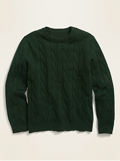 Uniform Cable-Knit Crew-Neck Sweater for Boys