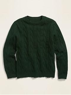 Chandail ras du cou d'uniforme en tricot torsadé pour garçon
