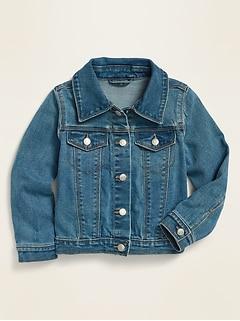 Veste de camionneur en jean au fini moyen pour toute-petite fille