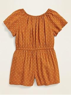 Printed Flutter-Sleeve Romper for Toddler Girls
